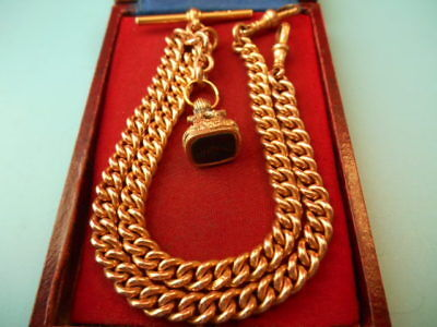 ANTIQUE ROLLED GOLD DOUBLE ALBERT CHAIN & SEAL FOB NOT SCRAP 45.8gm