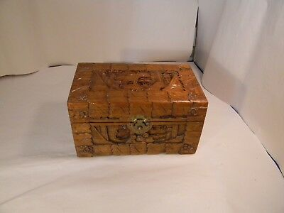 Vintage Hand Carved Asian Hinged Wooden Box