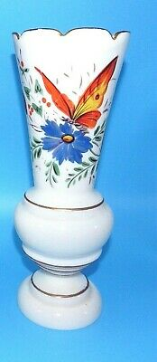 """2 Antique Bristol 11"""" White Hand Painted Butterfly Flower Footed Vase Very Good"""