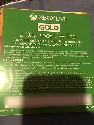 XBOX LIVE GOLD 48HR 48 hours 2 DAY TRIAL CODE - INSTANT DISPATCH