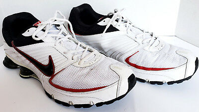 best service 9ac30 4104a Nike Shox White Blue Turbo Plus 8 White Leather Running Athletic Shoes Mens  15