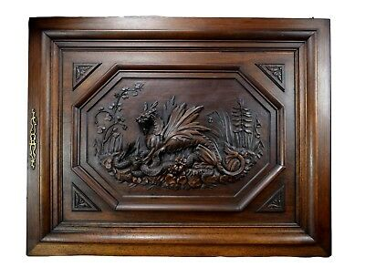 Antique French Large Hand Carved Walnut Wood Chimera Griffin Snake Door Panel
