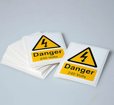 DANGER 240 VOLTS SELF ADHESIVE VINYL WARNING LABELS - PACK OF 25- 55mm x 70mm