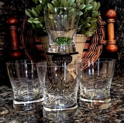 Vintage JOHNNIE WALKER Black Label Walking Man Rocks Glasses (4) POLAND ~ RARE!