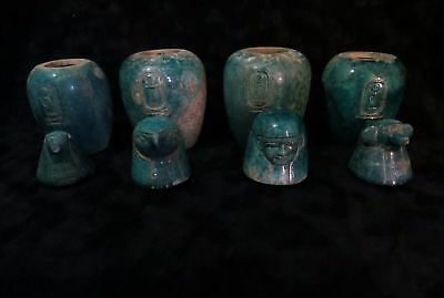 Huge Ancient Egyptian Set Canopic jars Of The Four Sons Of Horus 1070- 600 B.C