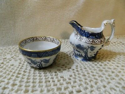 Vintage Blue White Booth's Real Old Willow Creamer & Open Sugar Bowl Set England