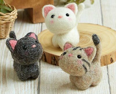 Little Friends' Cats Hamanaka  Needle Felting Craft Kit Japan