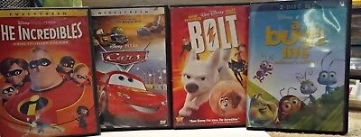 Disney/Pixar 4 Movie DVD Collection- Bolt, Cars, A Bug's Life, & The Incredibles