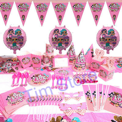 100pcs LOL Surprise Girls Birthday Party Tableware Decoration Supplies Kids Set