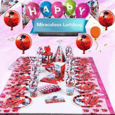 136pcs Miraculous Ladybug Birthday Party Supplies Favor Tableware Decor Balloons