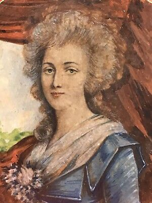 Deco c20th C Miniature Portrait Oil Painting Lady In Blue Celluloid Gainsborough