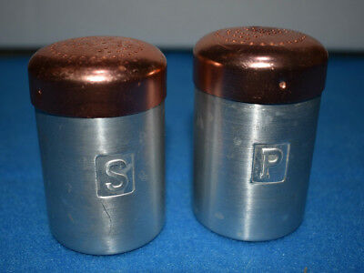 "Vtg Set 3"" ALUMINUM Salt & Pepper Shakers Copper Colored Lid Made in HONG KONG"