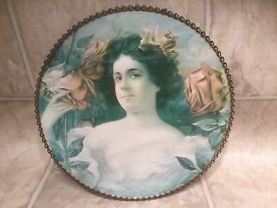 """Vtg 9"""" Round Chimney Stove Flue Cover Picture Of Woman"""