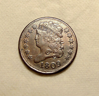 1809 Half Cent - Normal Date - Sharp Looking Coin - TakaLQQK - FREE SHIPPING