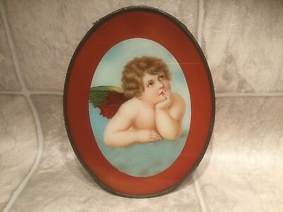 Vtg Oval Chimney Stove Flue Cover With Cherub Picture