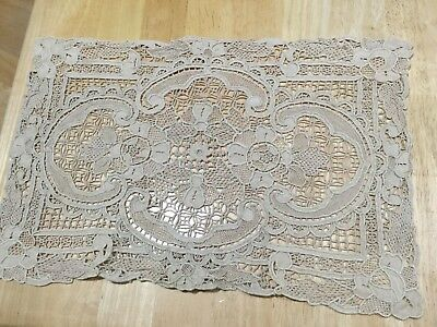 Antique Pc Of Ornate Lace & 2 Pc's Of Hand Crocheted Misc Items Ecru Excellent