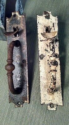 Set of Two Antique Hand Wrought Iron Door THUMB LATCHES Early 1800's