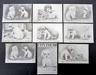 Lot 9 V. Colby Dog Cat Cartoon Postcards Unposted Early 1900's Terrier Adorable