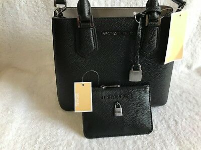 1e1222f00112 NWT Michael Kors ADELE Medium Messenger Crossbody with Coinpouch, Leather  Black