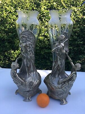 WONDERFUL WMF JUGENDSTIL / ART NOUVEAU  SILVERPLATE & CRYSTAL  VASES w/ MAIDEN