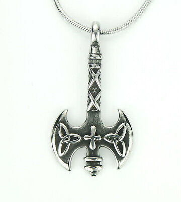 Celtic Labrys Necklace, Axe Cross Triquetra Stainless Pendant Gift Lesbian LGBT