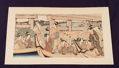 "A Japanese Woodblock 21 x 12"" Utamaro Kitagawa, Enjoying the Cool at the Ryogoku"