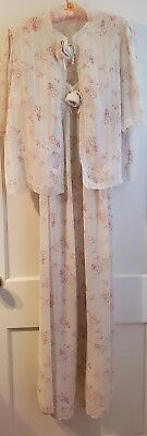 Vintage Christian Dior Lingerie Floral 2 Piece Nightgown w/ Lace USA
