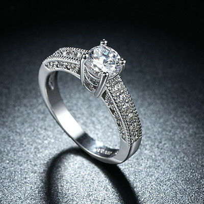2 Ct D/VVS1 Diamond Prong Engagement Wedding Ring Set With 14k White Gold Over