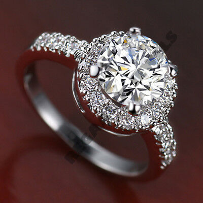 Womens 14K White Gold Over 2 Ct Round Cut Halo Diamond Engagement Ring All Size