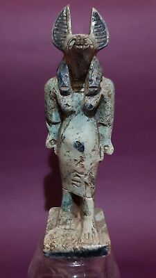 Ancient Egyptian Antique Egypt Statue Of God Anubis Blue Glazed Stone BC