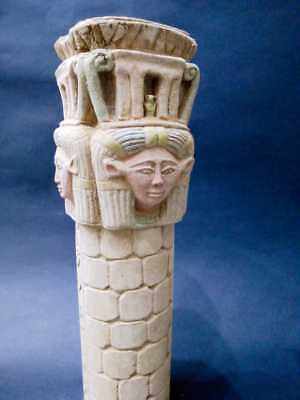 Rare Ancient Egyptian Antiques Hathor stand Egypt Hand Carved Stone BC