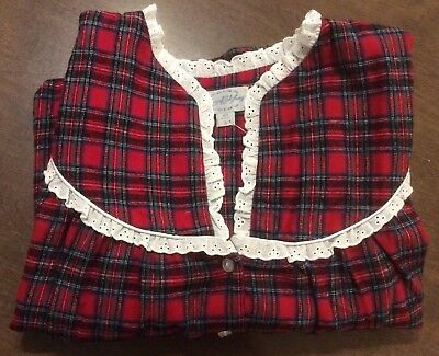a6fd9f0175 Womens Lanz of Salzburg Cotton Plaid Long Flannel Nightgown Size Large Red  NWT