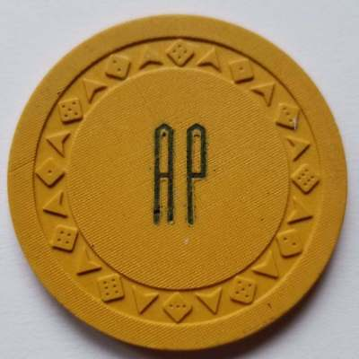 Vintage Casino Poker Chip, AP, Arrow Die, Arrow Dice, Arodie, Yellow/Mustard