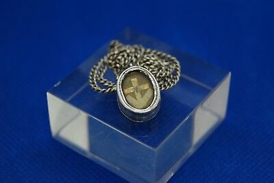 † True Cross Dnjc Reliquary 1 Relic Wax Seal Sterling Silver Case Chain France †