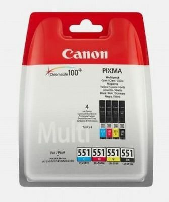Canon Cli-551 Multi Bk/c/m/y 4 Colour Ink Cartridge Pixma Genuine Brand New