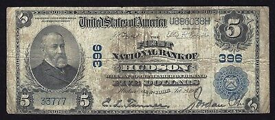 1902 $5 PB Hudson, New York - Poker Hand Full House Serial Number!  Soiled