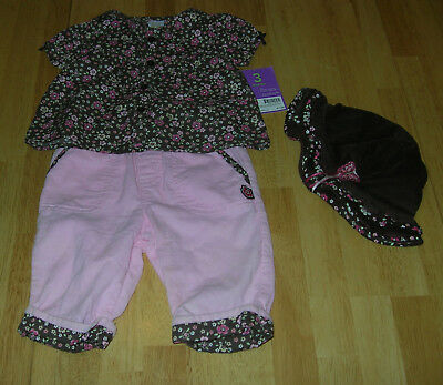 Girls Carters Pants Outfit Corduroy Brown Pink size 3 months Spring Fall Holiday