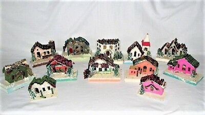 12 Vtg Antique Putz Style Cardboard Christmas House Village Mercury Glass Beads