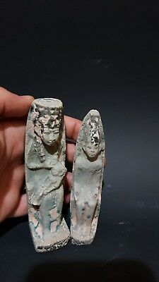 Rare ANCIENT EGYPTIAN ANTIQUE 2 AMULETS Egypt Faience Stone BC