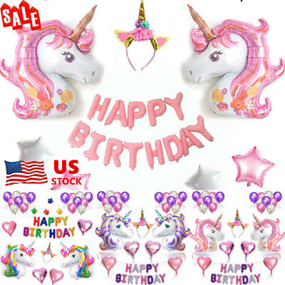 Unicorn Tassels Happy Birthday Letter Star Foil Balloons Party Decoration Props