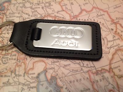 AUDI Chrome Key Ring Etched and infilled A 1 2 3 4 5 6 7 8 Q RS TT 9