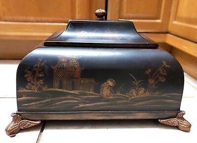 Vtg Chinese Jewelry Chest Wooden Footed Casket Box w Lid Painted w Pagodas Trees