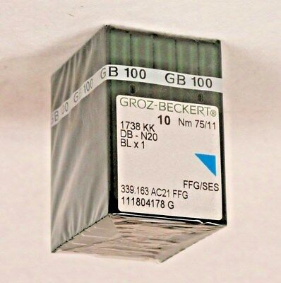 100 Qty Groz Beckert Industrial Embroidery Machine Needles Db-N20 10 75/11