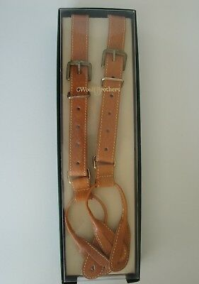 Vintage Woolf Brothers Leather Button Tab Braces Suspenders Adjustable NOS Boxed