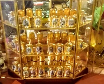 VTG 24k gold plated Hummel Thimbles School Children Set of 28 with Display Box