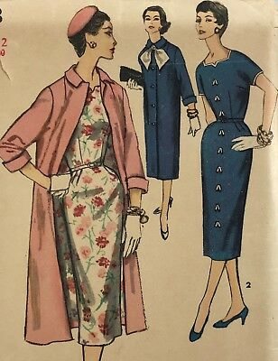 1950s Simplicity Vintage Sewing Pattern 1468 Dress and Coat Bust 30