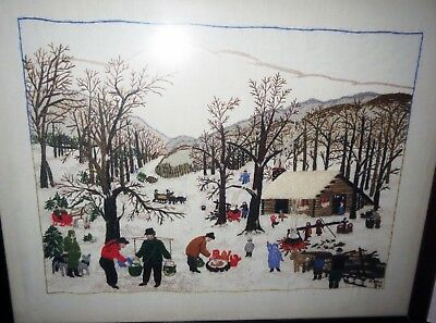 Amazing Embroidered SIGNED - GRANDMA MOSES TAPESTRY Painting - GALLERY FRAMED