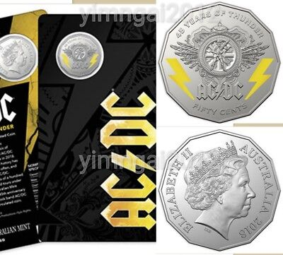 MINT SOLD OUT Australia  2018 50c AC/DC 45 Years of Thunder Coloured Coin