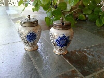 Antique Handpainted Salt Cellar and Pepper Shaker, Cobalt and Gold, Beautiful !