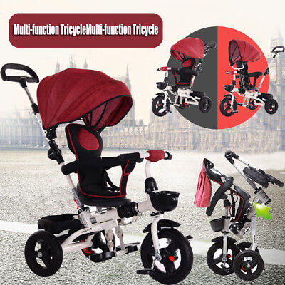 Kids Baby Toddler Stroller Foldable Tricycle Learning Bike Ride on Trike Pram